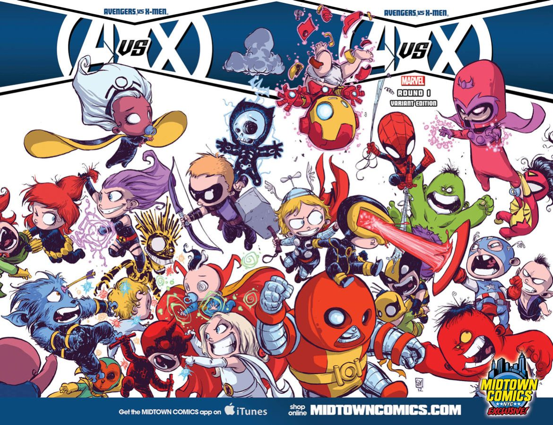 1330545303 Midtown Comics unveils Skottie Young AVENGERS VS. X-MEN #1 variant