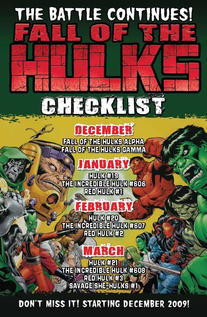 FOTHChecklist Fall Of The Hulks Alpha sells out; will return Dec 30th 2009