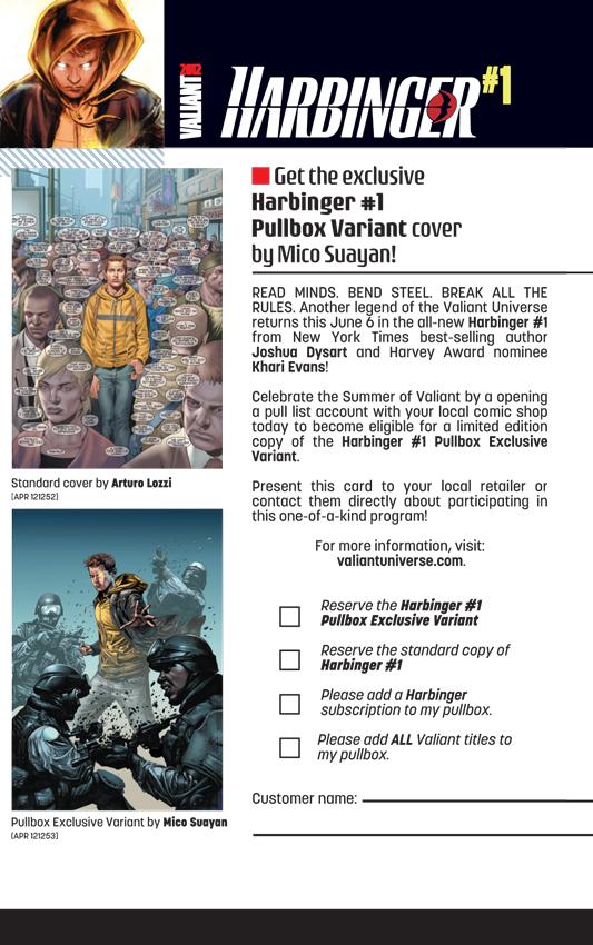 HAR_001_PullboxCard Mico Suayan covers Valiant's HARBINGER #1 Pullbox Variant