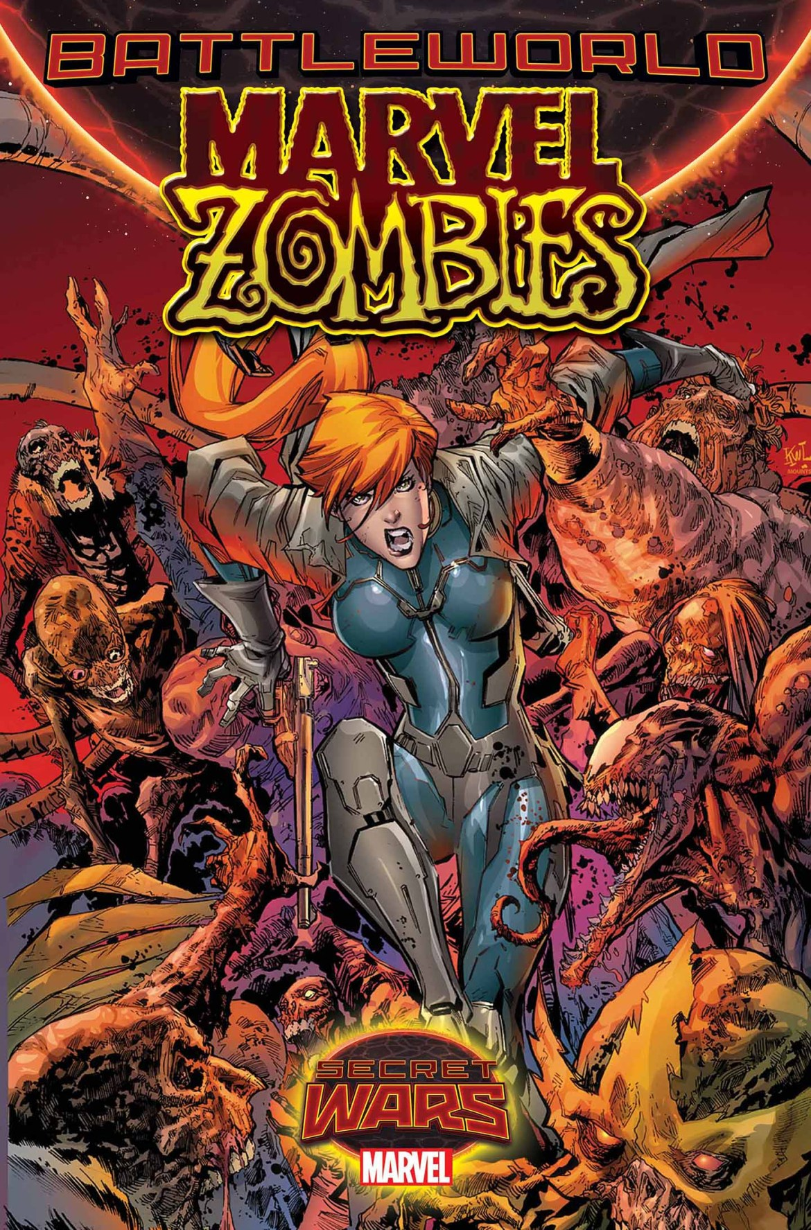 Marvel_Zombies_1_Cover One woman battles MARVEL ZOMBIES #1 across BATTLEWORLD