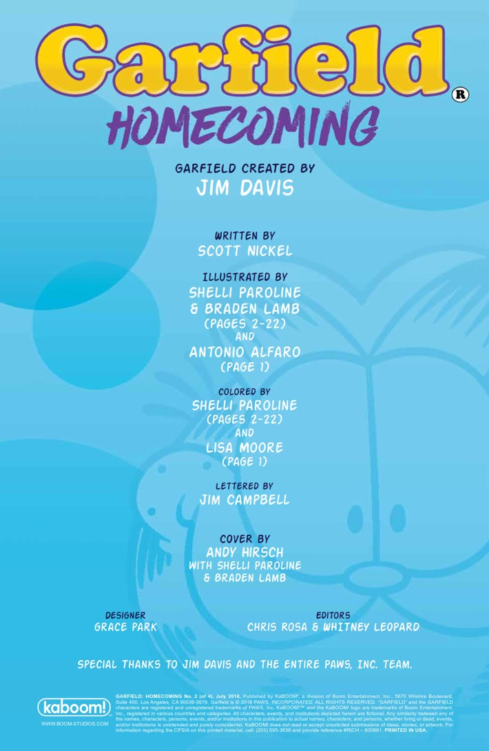 Garfield_Homecoming_002_PRESS_2 ComicList Previews: GARFIELD HOMECOMING #2