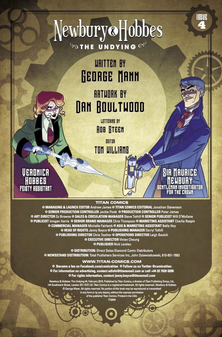 Newbury_&_Hobbes_4_credits ComicList Previews: NEWBURY AND HOBBES THE UNDYING #4