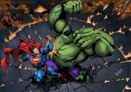 superman vs hulk fan art