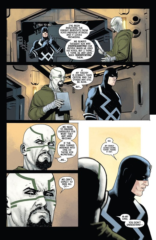 Death of the Inhumans #5 art by Ariel Olivetti, Jordie Bellaire, and letterer VC's Clayton Cowles