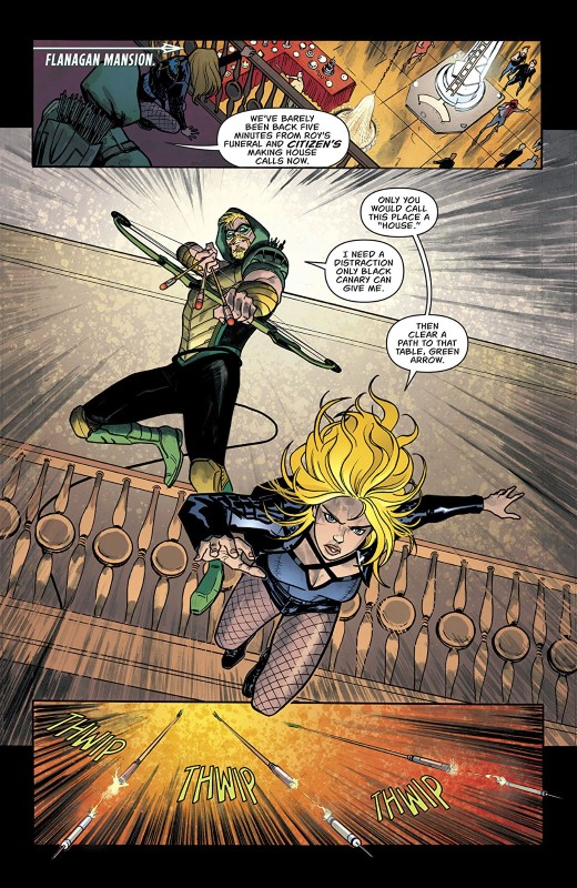 Green Arrow #46 art by German Peralta, John Kalisz, and letterer Deron Bennett