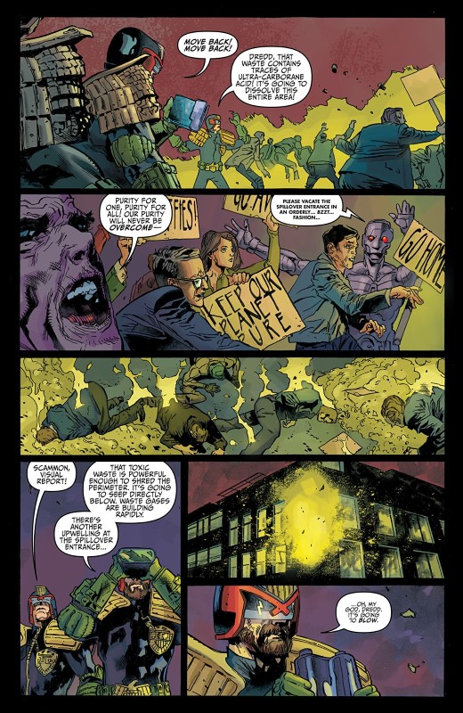 Judge Dredd; Toxic #2 art by Marco Castiello, Vincenzo Acunzo, Jason Millet, and letterer Shawn Lee