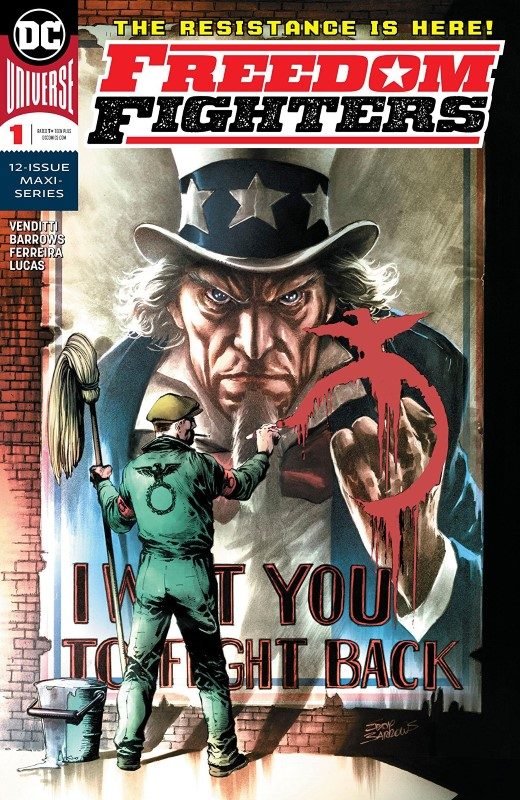 Freedom Fighters #1 cover by Eddy Barrows and Adriano Lucas