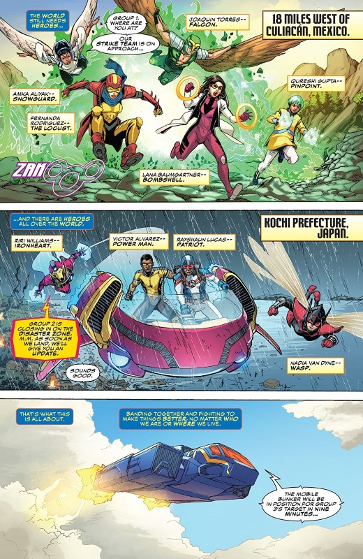 The Champions #1 art by Steven Cummings, Marcio Menyz, Erick Arciniega, and letterer VC's Clayton Cowles