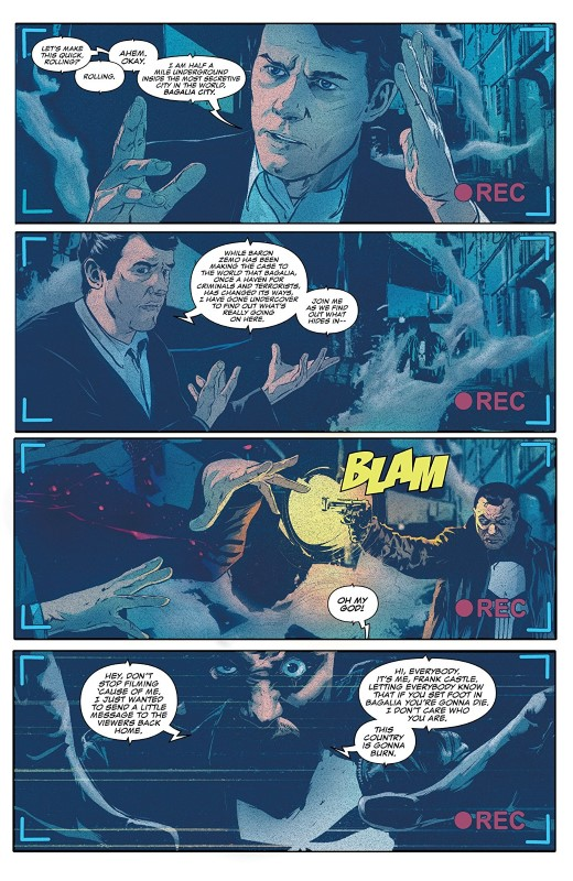 The Punisher #6 art by Szymon Kudranski, Antonio Fabela, and letterer VC's Cory Petit