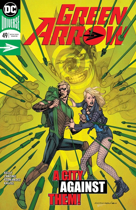 Green Arrow #49 cover by Kevin Nowlan and Nathan Fairbairn
