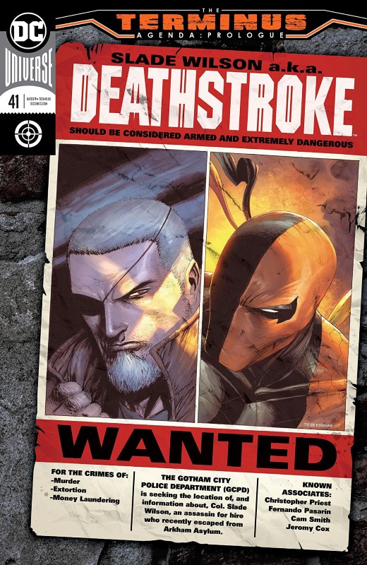Deathstroke #41 cover by Tyler Kirkham and Tomeu Morey
