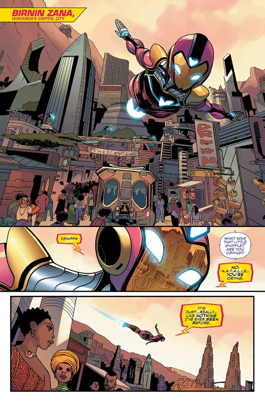 Ironheart #9 art by Luciano Vecchio, Geoffo, Matt Milla, and letterer VC's Travis Lanham