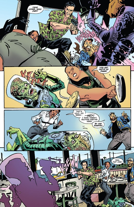 Warlord of Mars Attacks #3 art by Dean Kotz, Omi Remalante, and letterer Hassan Otsmane-Elhaou