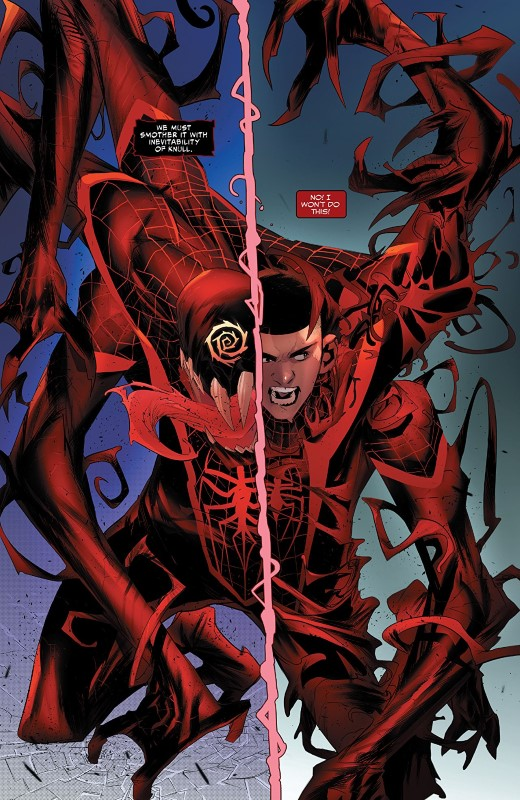 Absolute Carnage: Miles Morales #3 art by Federico Vicentini, Erick Arciniega, and letterer VC's Cory Petit