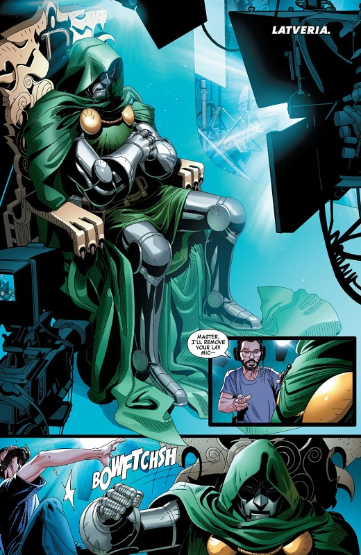 Doctor Doom #1 art by Salvador Larroca, Guru-eFX, and letterer VC's Cory Petit