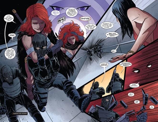 Vampirella/Red Sonja #3 art by Drew Moss, Rebecca Nalty, and letterer Becca Carey