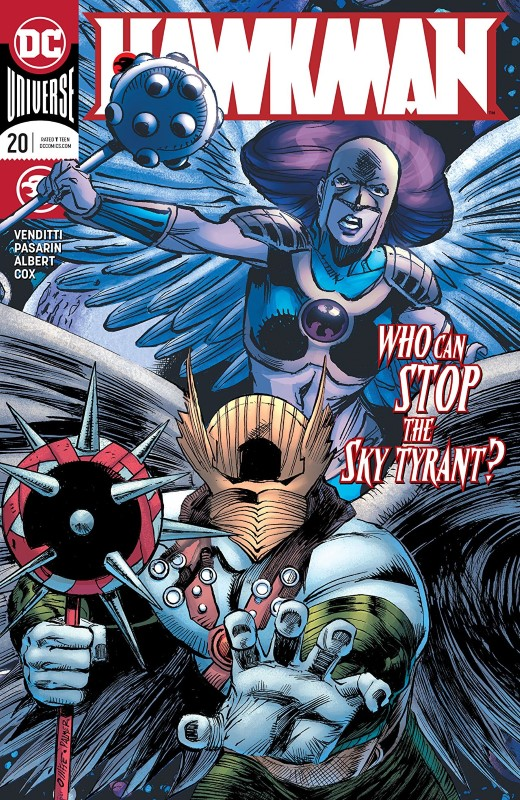 Hawkman #20 cover by Pat Olliffe, Tom Palmer, and Jeremiah Skipper