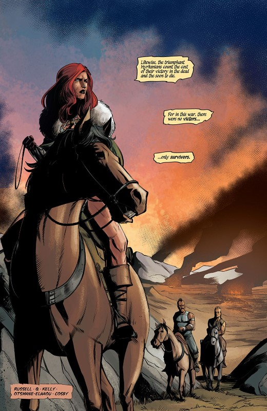 Red Sonja #13 art by Bob Q, Dearbhla Kelly, and letterer Hassan Otsmane-Elhaou