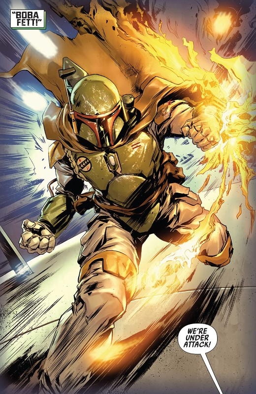 Star Wars: Bounty Hunters #1 art by Paolo Villanelli, Arif Prianto, and letterer VC's Travis Lanham