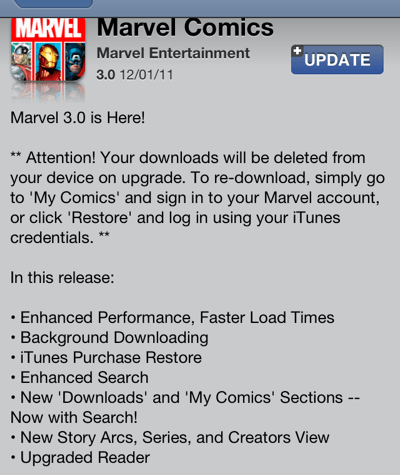 Marvel updates app to 3 0 but you must redownload all your