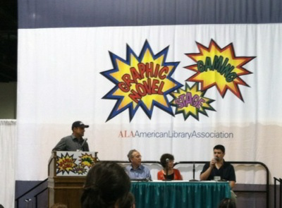 2012 ALA Eisner Prize Event Josh Elder speaks L- R John Shableski, Carl Gropper, Nancy Gropper, Josh Elder.jpeg