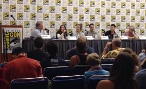 The Cover Story panel: Evanier, Conner, Staples, Brooks, Lee, Sakai.