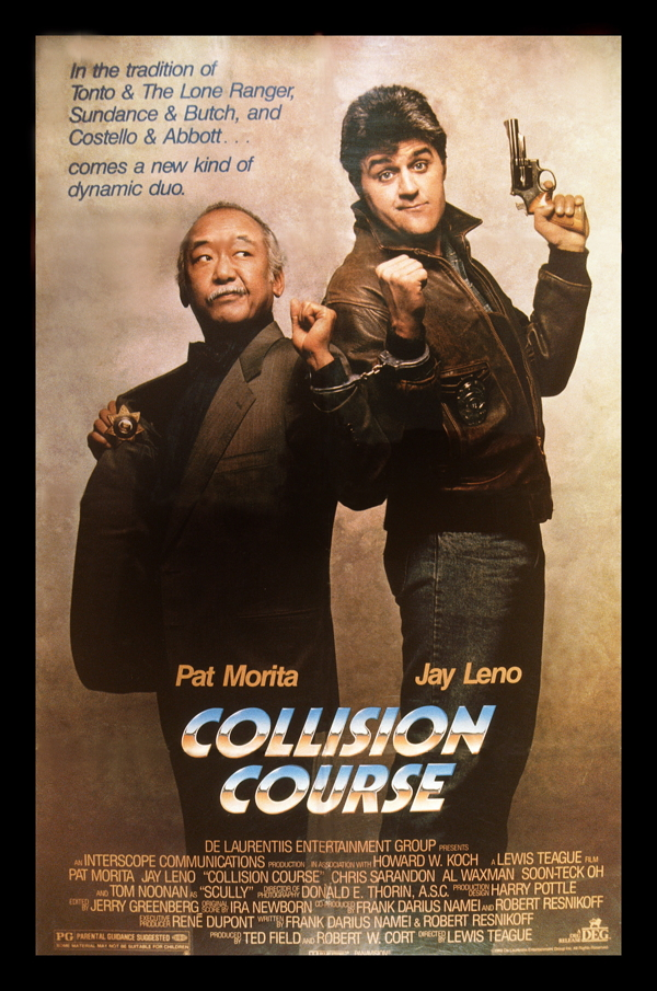 COLLISION COURSE, from left: U.S. poster, Pat Morita, Jay Leno, 1989, © De Laurentiis Entertainment