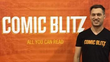 Comic Blitz Founder Jordan Plosky on the floor of HeroesCon 2015