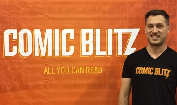 Comic Blitz Founder Jordan Plosky on the floor of HeroesCon 2015