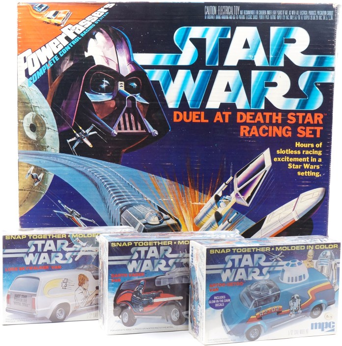 6 Star Wars Duel at Death Star Racing Set from Lionel (1978) and Star Wars Artoo-Detoo, Luke Skywalker and Darth Vader Snap-Together Van Kits from MPC (1978)