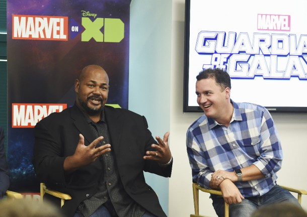 "MARVEL'S GUARDIANS OF THE GALAXY - The voice cast and creative team at the ""Marvel's Guardians of the Galaxy"" event in Burbank, California (September 1). ""Marvel's Guardians of the Galaxy"" premieres SATURDAY, SEPTEMBER 26 (9:30 p.m., ET/PT) on Disney XD. (Disney XD/Matt Petit) KEVIN MICHAEL RICHARDSON, STEVE WACKER (VP, CURRENT SERIES, MARVEL ANIMATION STUDIOS)"
