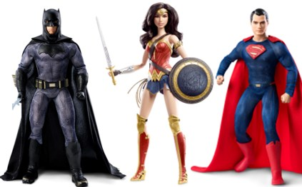 Barbie line Batman, Wonder Woman, and Superman: Each fully articulate character based off the movie actors are highly detailed and posable. SRP $39.95