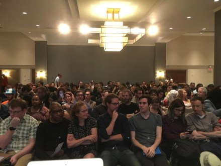 The view from the stage at the The Rise of the GRaphic Novel Panel with Andy Brown, Annie Koyama, Mark Siegel and Brian K. Vaughan. How many do you know?