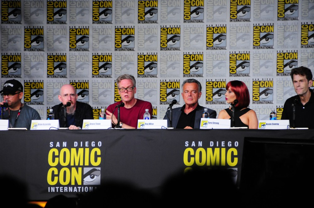 Left to Right: Sam Liu, Brian Azzarello, Bruce Timm, Ray Wise, Tara Strong, and Kevin Conroy