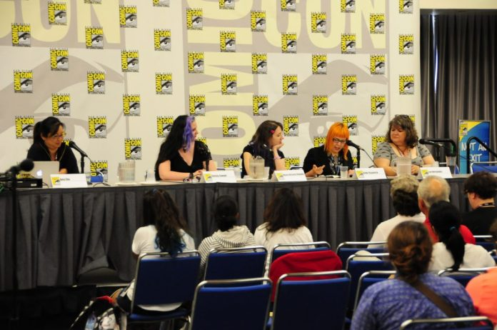 (Left to Right) Amy Chu, Christy Sawyer, Maria Victoria Robado, Kelly Fitzpatrick, and Lea Hernandez