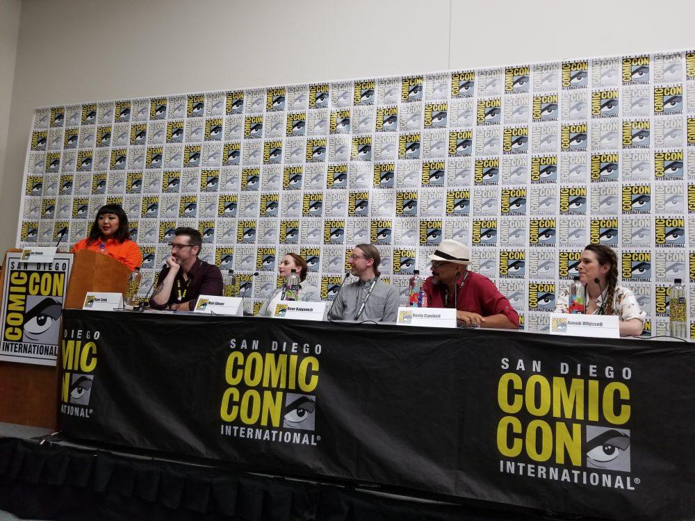 (l-r) Jen Yamato, Ryan Turek, Mali Elfam, Dave Kajganich, Rusty Candieff, Anouk Whissell