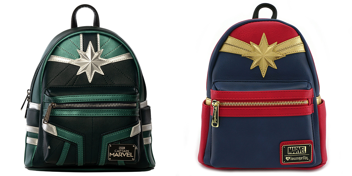Captain Marvel faux leather mini backpacks by Loungefly