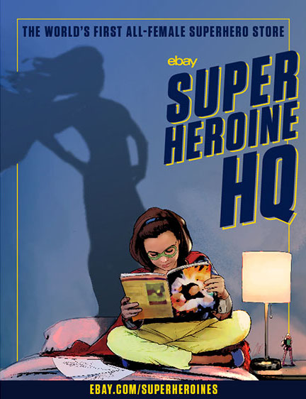 eBay 'Superheroine HQ' poster art by Cat Staggs