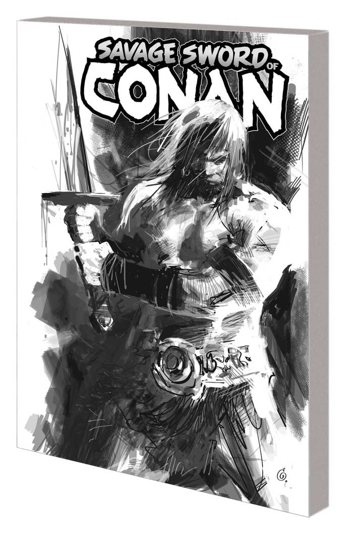 Savage Sword of Conan #1: The Cult of Koga Thun black and white TPB cover