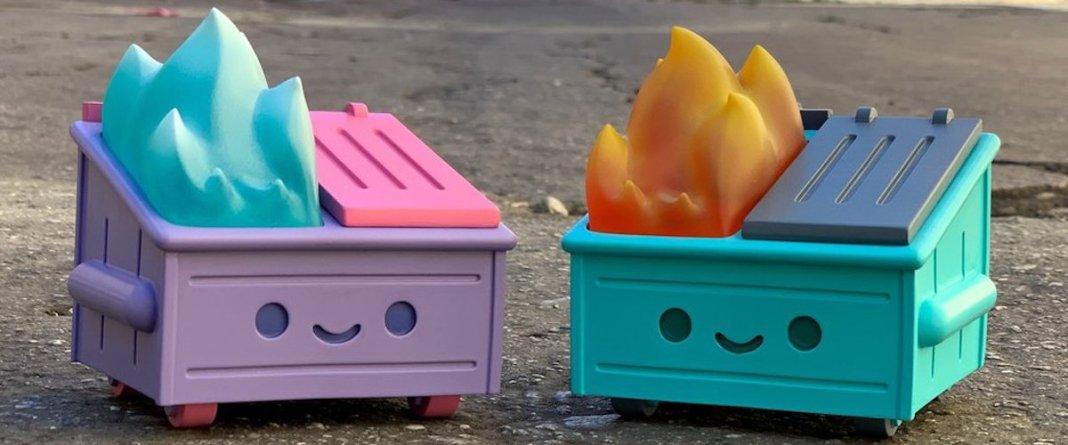 Dumpster Fire toy in two colors