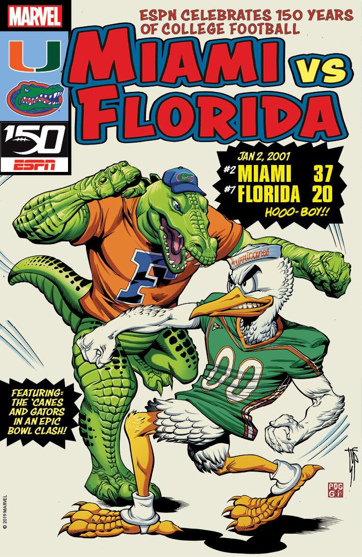 College Football 150 commemorative cover - Miami vs Florida 2001