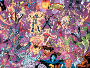 Just about everyone who has ever been a Legionnaire in an epic group shot of the three Legions by George Perez