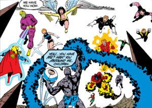 Supergirl, Brainiac 5, Light Lass, Dawnstar, Starboy, Cosmic Boy, Lightning Lad, Element Lad, Sun Boy, Blok, Wildfire, Ultra Boy, and Bouncing Boy facing off against their foe in the Great Darkness Saga