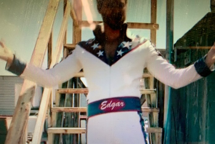 Edgar in his Evel Knievel jumpsuit