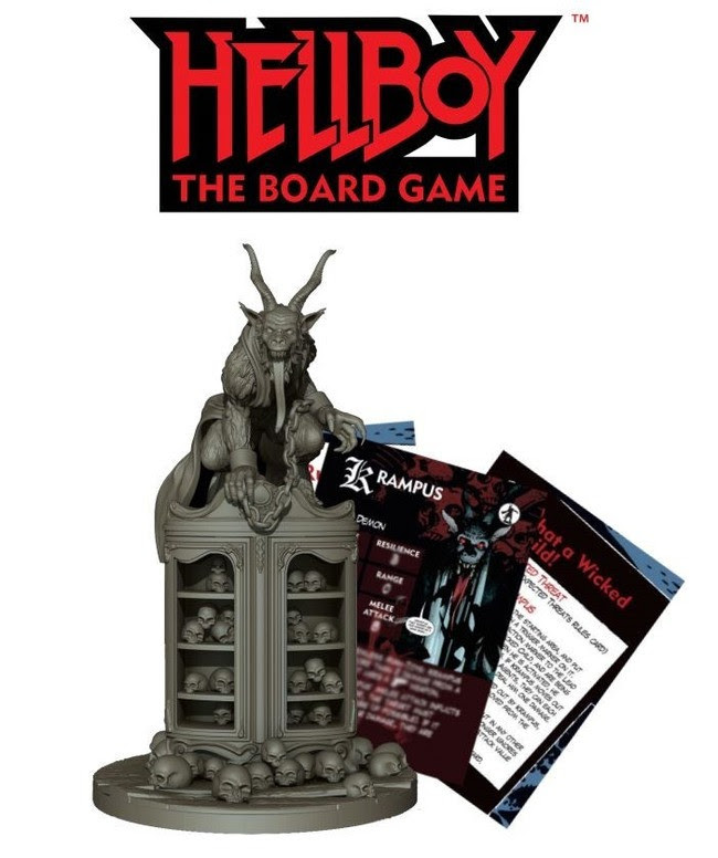 Unpainted Krampus miniature and cards for Hellboy: The Board Game