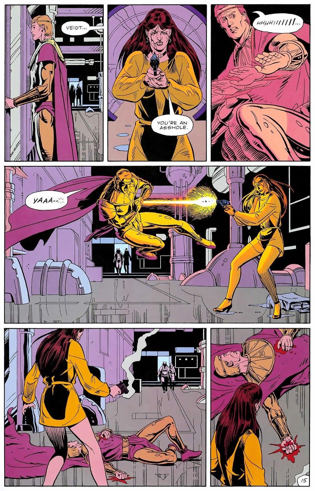 Ozymandias catches a bullet in the original Watchmen comic