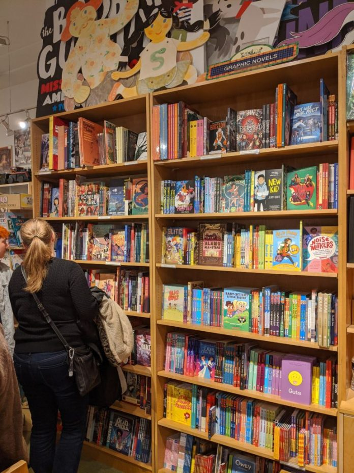 The Graphic Novel shelves at Books of Wonder.