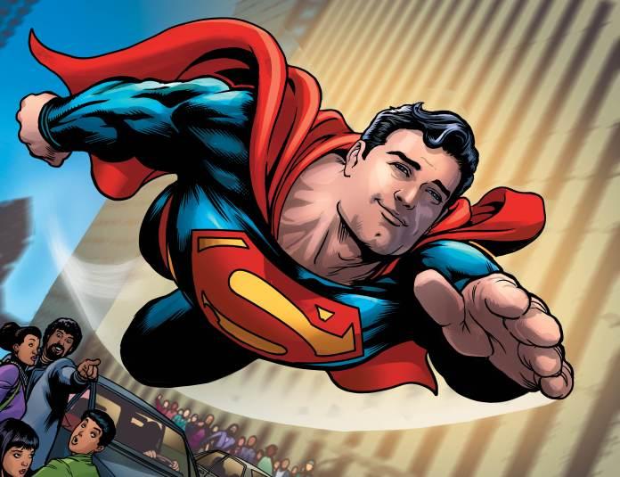 Superman smiling as he flies through Metropolis