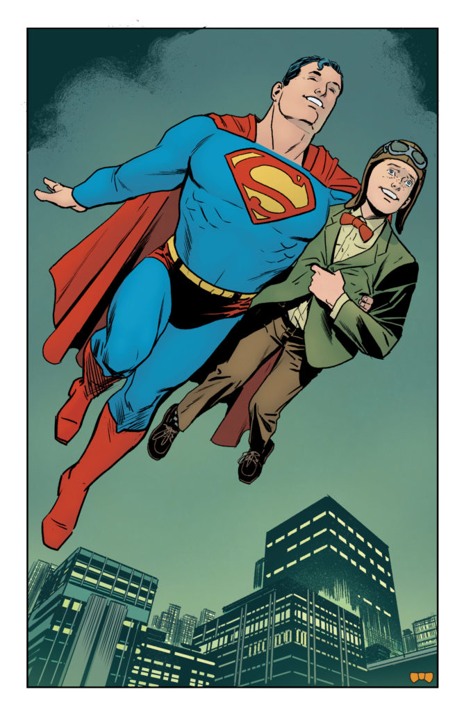Superman flying with Jimmy Olsen by Steve Lieber in Superman: Heroes