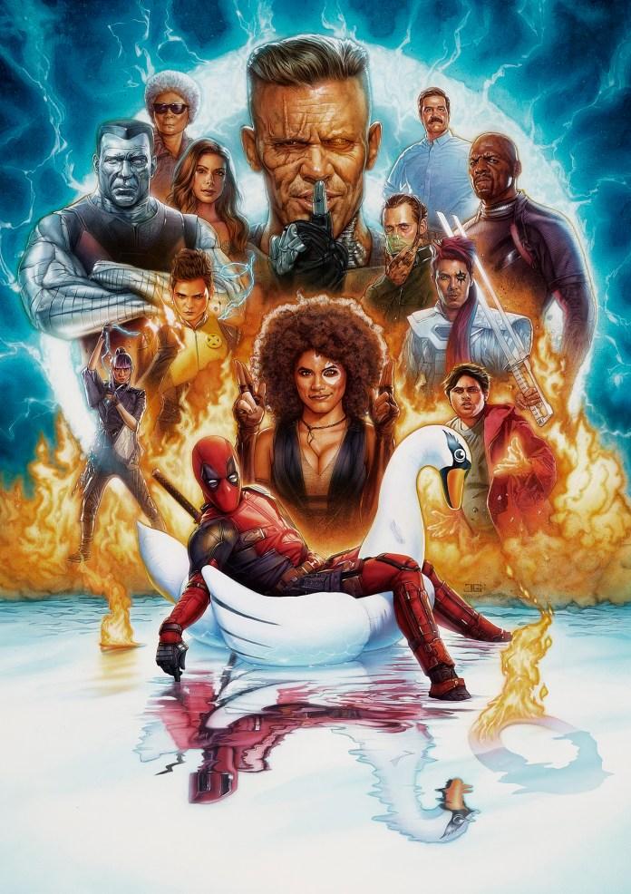 illustrated film poster for deadpool 2